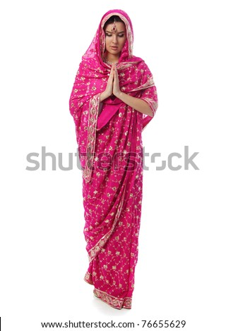 young woman in sari dress - stock photo