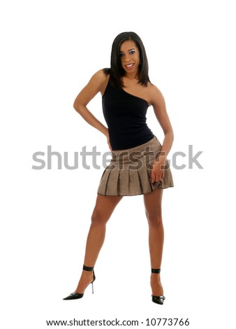 Young woman in short skirt and black top
