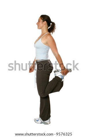 Young woman in stretching pose, isolated on white - stock photo