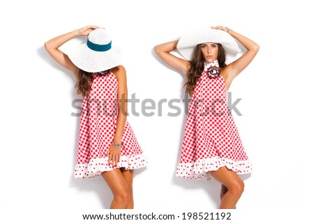 young woman in summer romantic elegant dress and white hat,  studio shot - stock photo