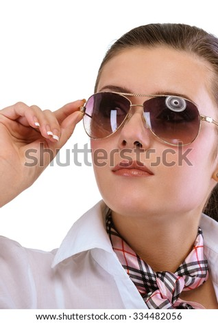 Young woman in sun glasses, isolated on white background.