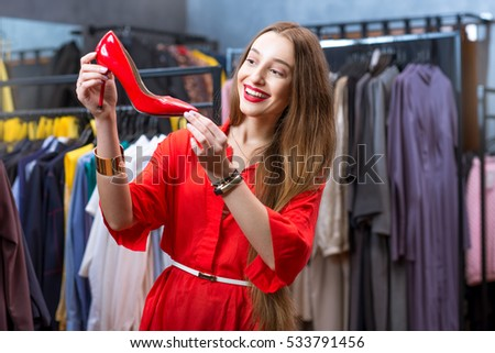 Young Woman Red Dress Shopping Luxury Stock Photo 533791447 ...