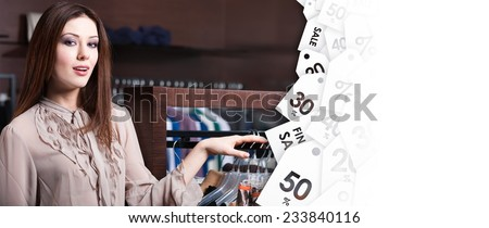 Young woman in the shop on clearance sale. Black friday closeout - stock photo