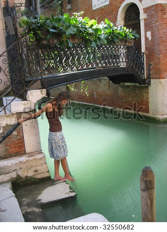 Young woman in Venice, Italy - stock photo