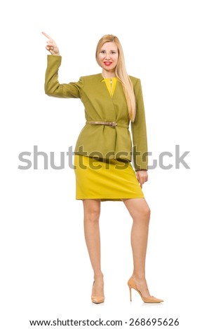 Young woman in vivid jacket isolated on white - stock photo