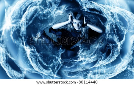 young woman in whirlpool - stock photo