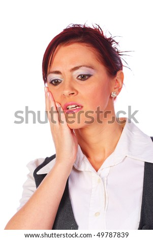 Young woman in white blouse having toothache, isolated on white - stock photo