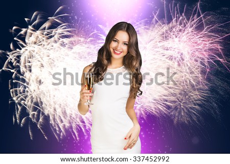 Young woman in white dress with champagne on the white background - stock photo