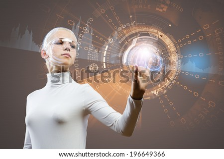 Young woman in white touching icon of media screen - stock photo