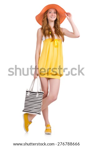 Young woman in yellow summer dress isolated on white - stock photo