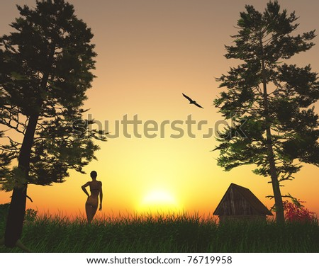 Young woman is enjoying the sunrise in the woods, as a symbol for beauty and fitness. - stock photo