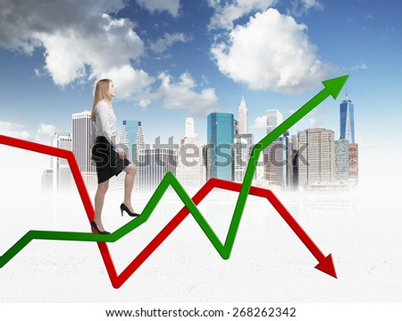 Young woman is going up to the line graph. Sketch of New York.