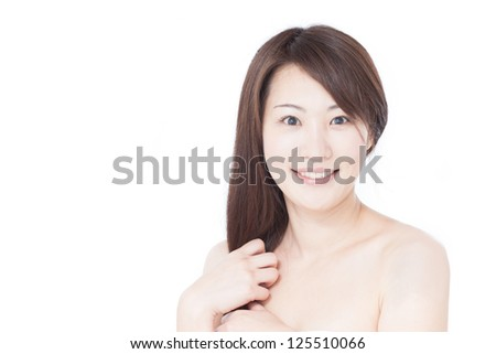 young woman isolated on white background
