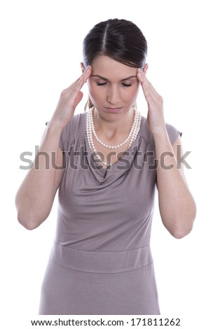 Young woman isolated on white background has headache - stock photo