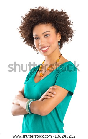 Young Woman Isolated on White Background with Arms Crossed