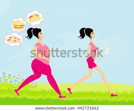 Young woman jogging,fat girl dreams of unhealthy eating, skinny girl drinks mineral water - stock photo