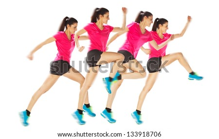 Young woman jogging on white background.  Different positions woman starting running. - stock photo