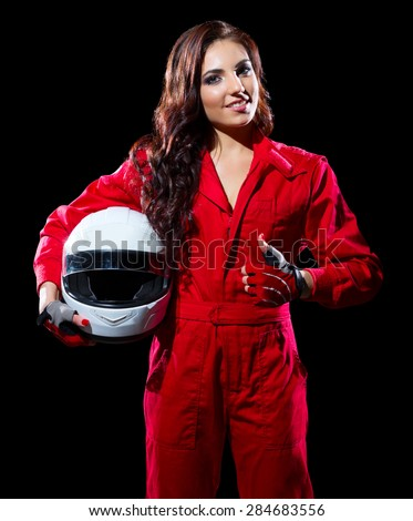 Young woman karting racer isolated - stock photo