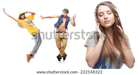 young woman listening music and two dancers on background isolated on white - stock photo