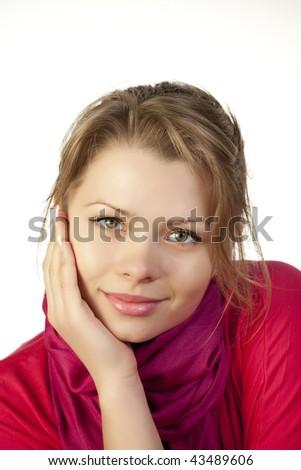 Young woman looking at camera - stock photo