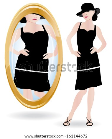 Young woman looking at her in the mirror. Anorexia or bulimia metaphor.  - stock photo