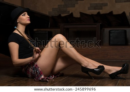 Young Woman Looking Confused Lost Her Billiard Game - stock photo
