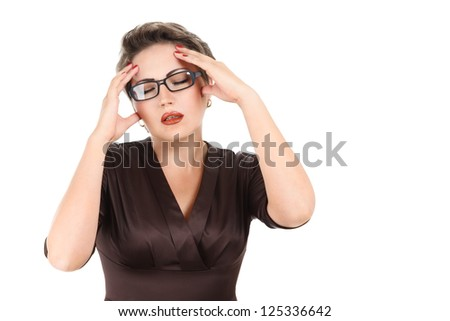 Young woman looking depressed with closed eyes isolated on white background - stock photo