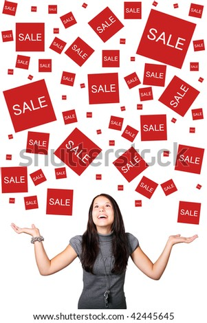 Young woman looking forward to sales - stock photo