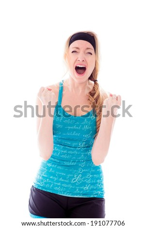 Young woman looking frustrated and shouting