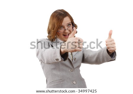 Young woman looking into the camera while giving an ok gesture with her forward hand. Happiness girl shows OK. OK sign. Business woman with thumb up. Isolated on white background. - stock photo