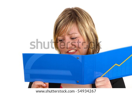Young woman looking shocked at statement of account. Shot in studio. - stock photo