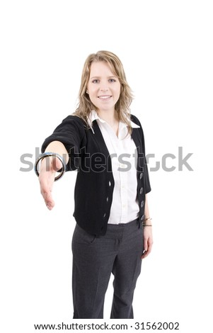 Young woman looking towrds camera, ready to shake hands, shot on white background. - stock photo