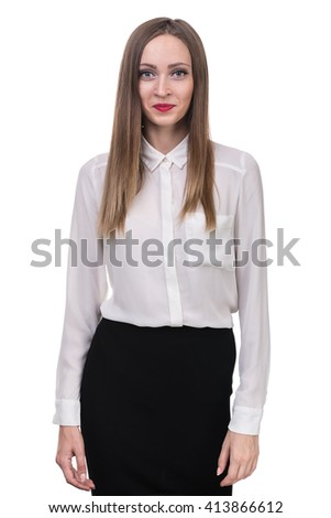 young woman looks skeptical - stock photo