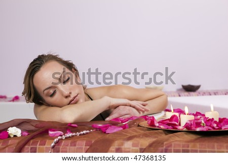 Young Woman Lying in the Spa