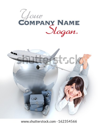 Young woman lying on the floor by a pile of luggage the Earth and a flying plane  - stock photo