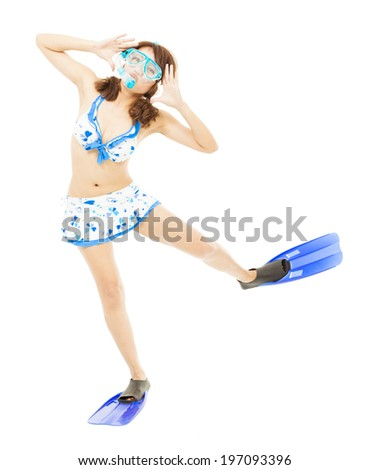 young woman make a cute pose and dance - stock photo