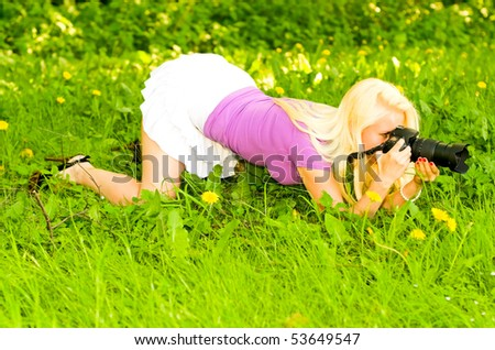 young woman making a picture - stock photo