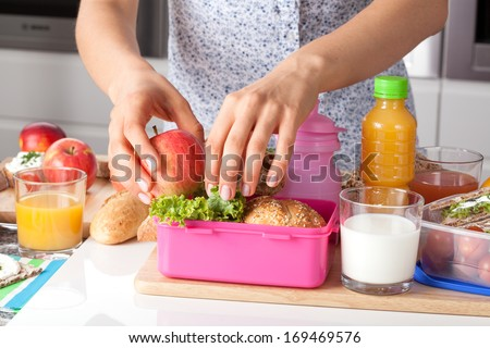 Young woman making school lunch  in the morning - stock photo