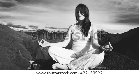 Young Woman Meditating Wilderness Beautiful Mountain Concept - stock photo