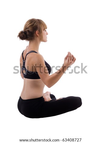 Young woman meditation isolated on white background - stock photo