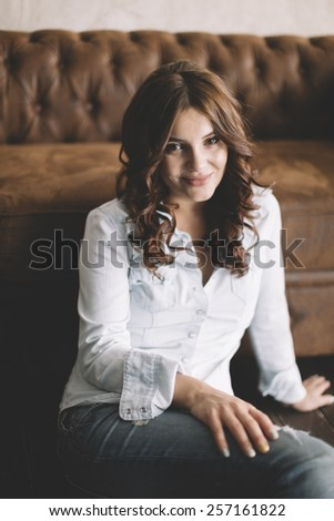 young woman ,natural light from window - stock photo