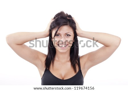 Young woman noise headache - stock photo