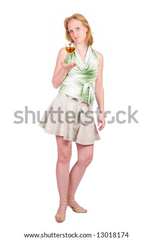 Young woman offering drink isolated on white
