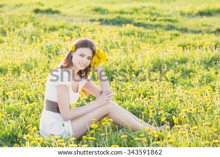 Young Woman  on a field