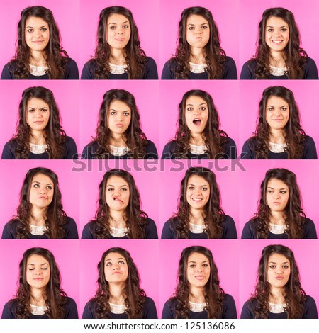 Young Woman on Fuchsia, Multiple Expressions - stock photo
