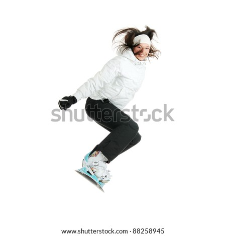 Young woman on snowboard isolated on white background - stock photo