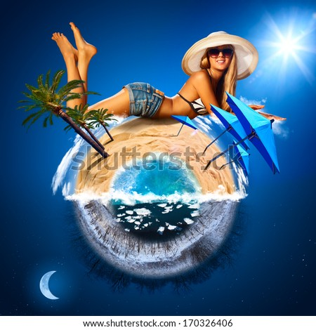 Young woman on sunny beach. Warm and cold planet concept. - stock photo