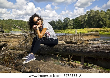 young woman on vocation - stock photo