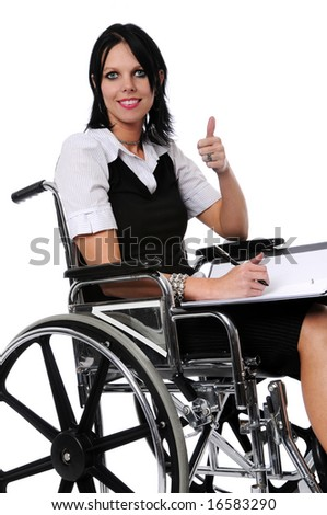 Young woman on wheelchair showing thumbs up