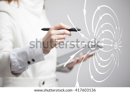 Young woman, physics teacher draws a diagram of the electric field - stock photo